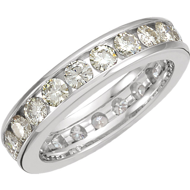 14kt White Forever Classic Moissanite Eternity Band Size 7