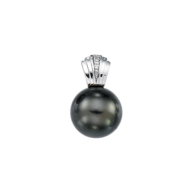 Genuine 14 KT White Gold Tahitian Cultured Pearl & .01 Carat TW Diamond Pendant