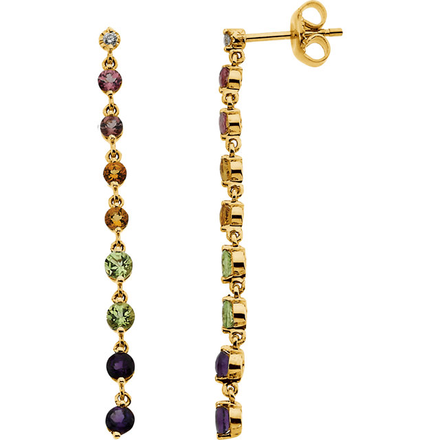 14KT White Gold .04 Carat Total Weight Diamond, Pink Tourmaline, Citrine, Peridot & Amethyst Dangle Earrings