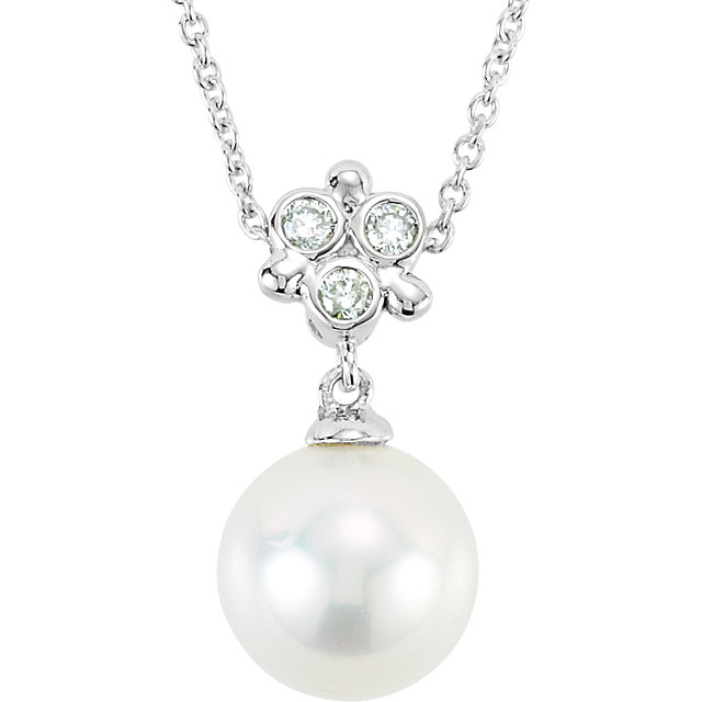 Eye Catchy 14 Karat White Gold Freshwater Cultured Pearl & .05 Carat Total Weight Diamond 18