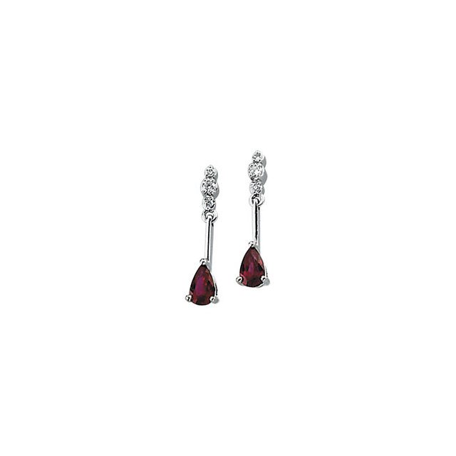 Contemporary 14 Karat White Gold .05 Carat Total Weight Diamond & Ruby Earrings