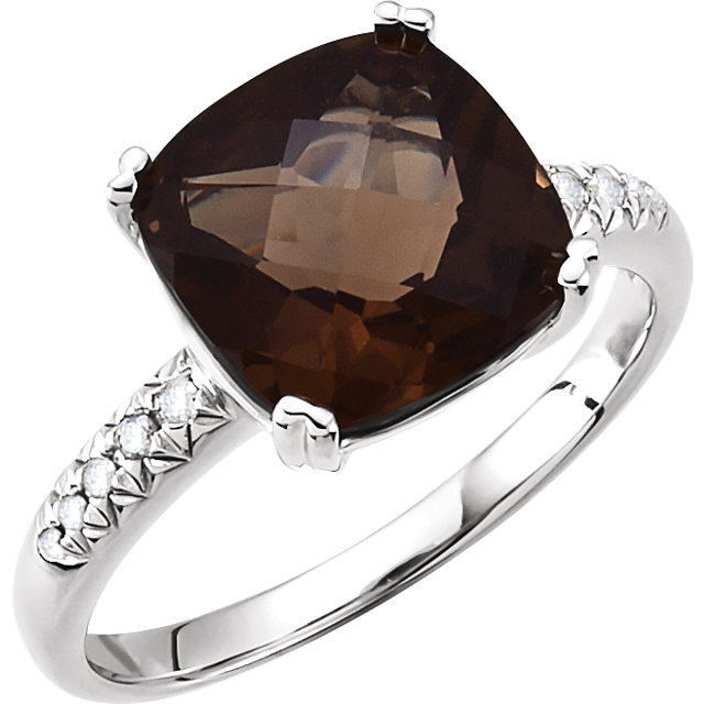Beautiful 14 Karat White Gold .08 Carat Total Weight Diamond & 10x10mm Smoky Quartz Ring