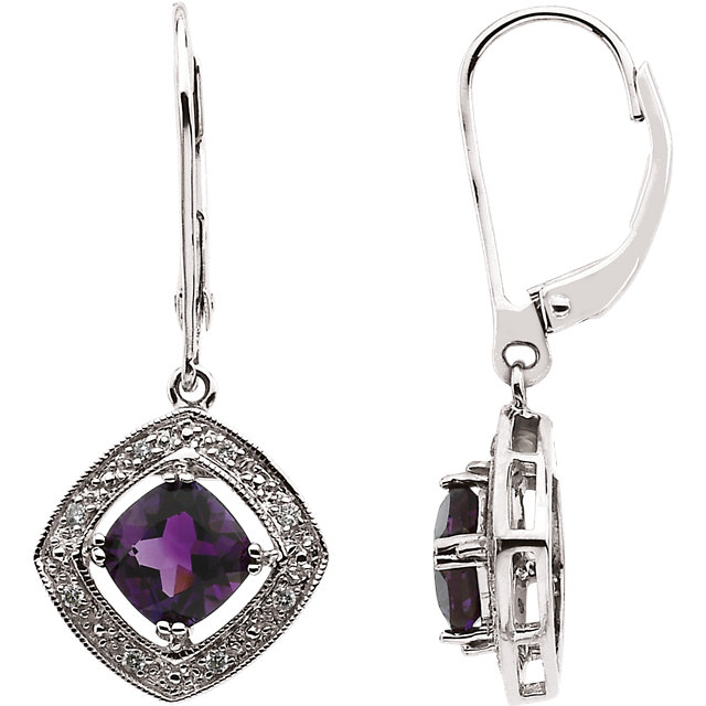Quality 14 KT White Gold .08 Carat TW Diamond & Amethyst Earrings