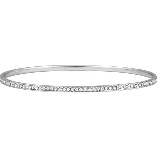 Best 14 Karat White Gold 1 1/2 Carat Total Weight Round Genuine Diamond Bangle Bracelet 7