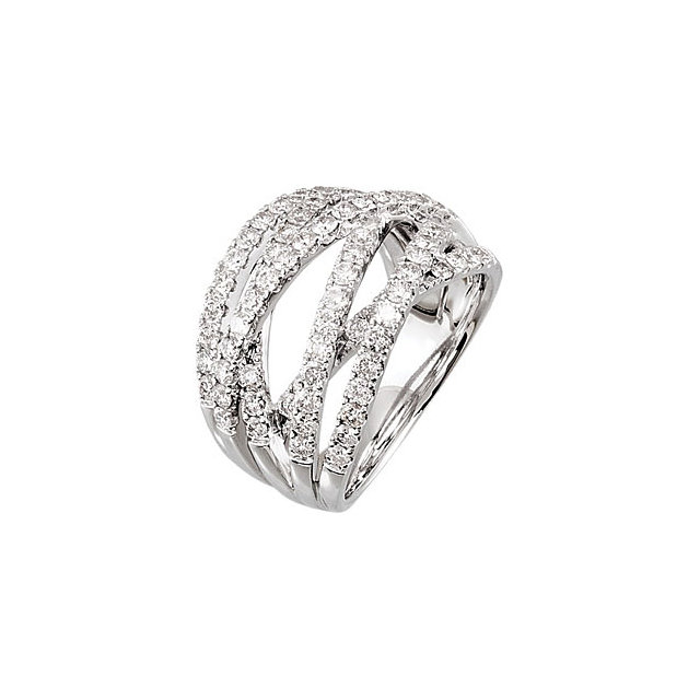 Perfect Gift Idea in 14 Karat White Gold 0.50 Carat Total Weight Diamond Criss-Cross Ring Size 7