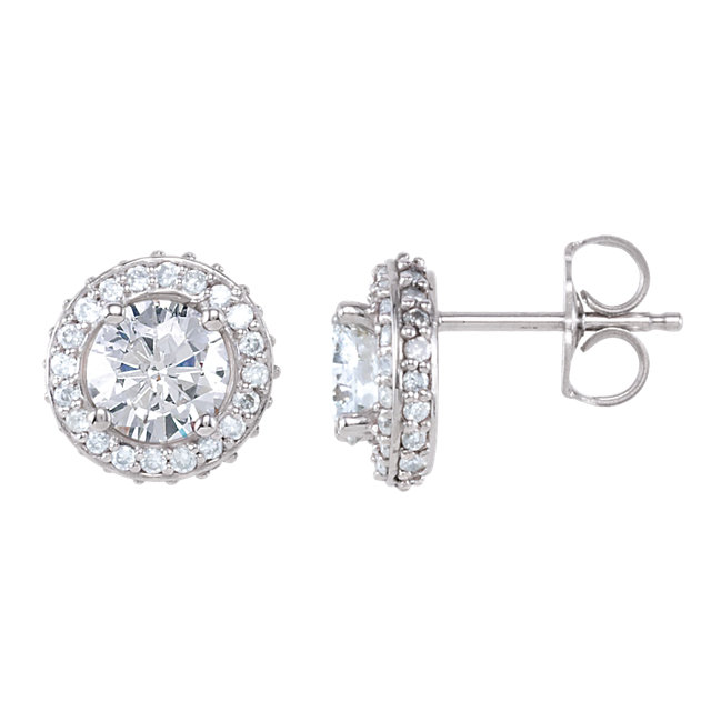 Stunning 14 Karat White Gold 1 0.33 Carat Total Weight Diamond Earrings