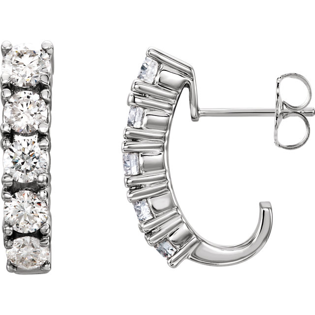 Lovely 14 Karat White Gold Five-Stone J-Hoop Earring Mounting