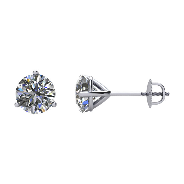 Great Deal in 14 Karat White Gold 0.50 Carat Total Weight Diamond Stud Earrings