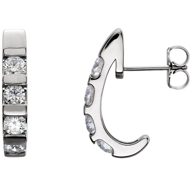 Appealing Jewelry in 14 Karat White Gold 0.25 Carat Total Weight Diamond Earrings