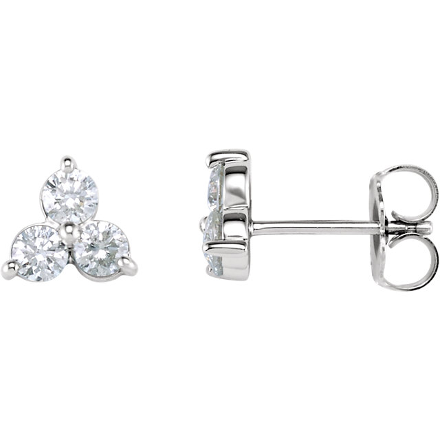 Gorgeous 14 Karat White Gold 0.20 Carat Total Weight Three-Stone Diamond Earrings