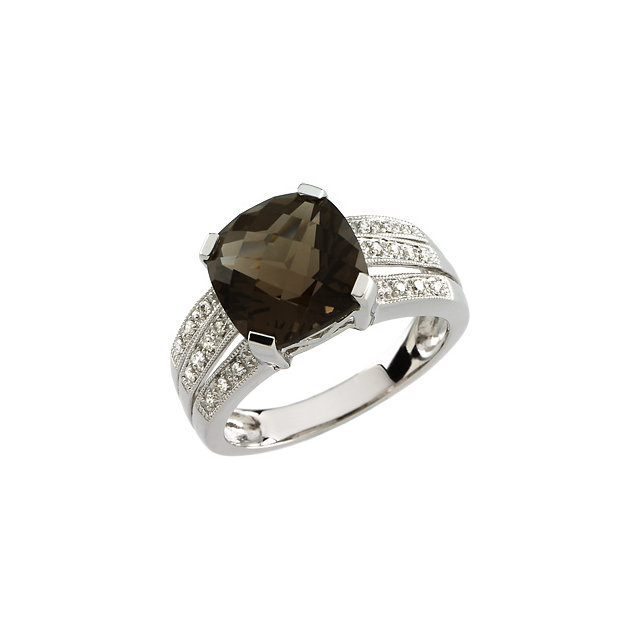 Stunning 14 Karat White Gold 0.10 Carat Total Weight Diamond & 10x10mm Smoky Quartz Ring
