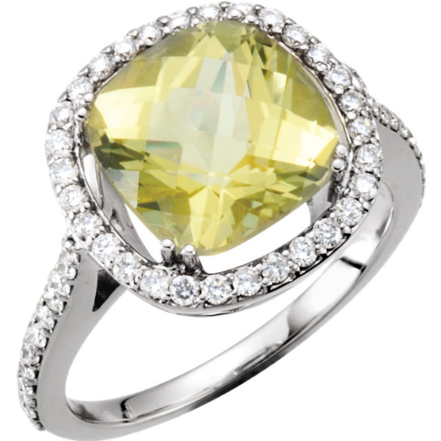 14 Karat White Gold 0.50 Carat Diamond & 10x10mm Cushion Genuine Lemon Quartz Ring