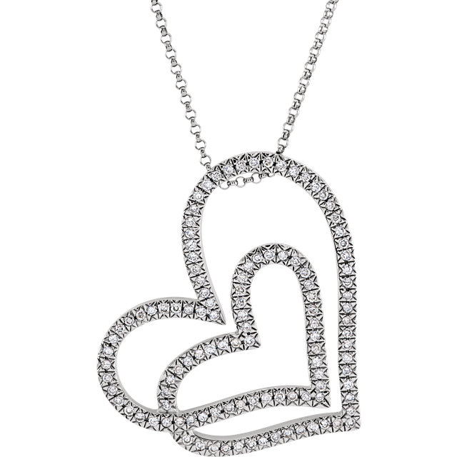 14 KT White Gold 1/2 CT tw Diamond Necklace