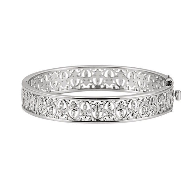 Classic 14 Karat White Gold 1/2 Carat Total Weight Round Genuine Diamond Bangle Bracelet