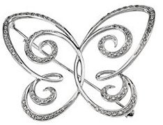 14KT White Gold 1/2 CTW Diamond Butterfly Brooch