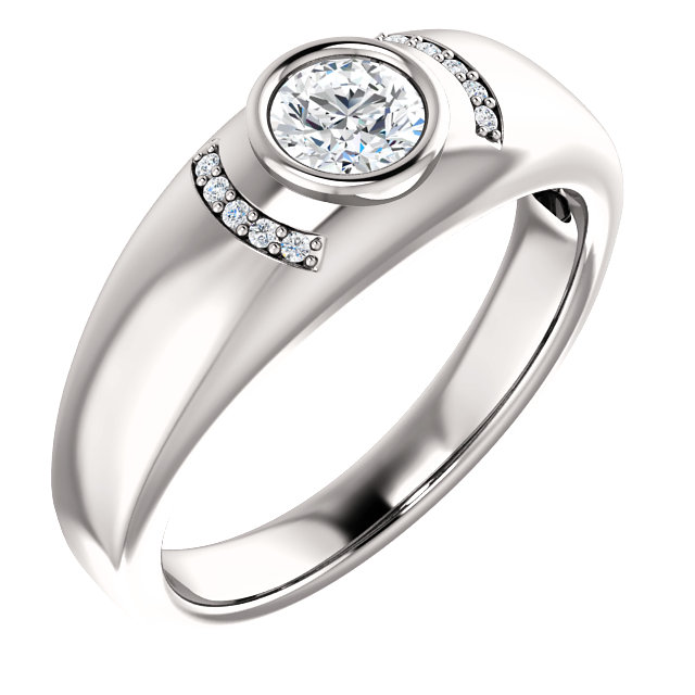Deal on 14 KT White Gold 0.50 Carat TW Diamond Men's Bezel Ring