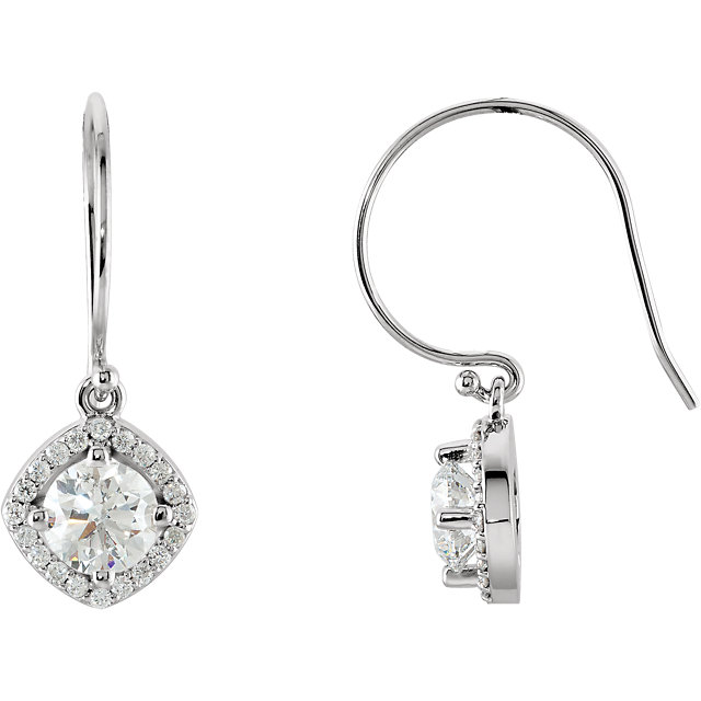 Surprise Her with  14 Karat White Gold 0.75 Carat Total Weight Diamond Earrings