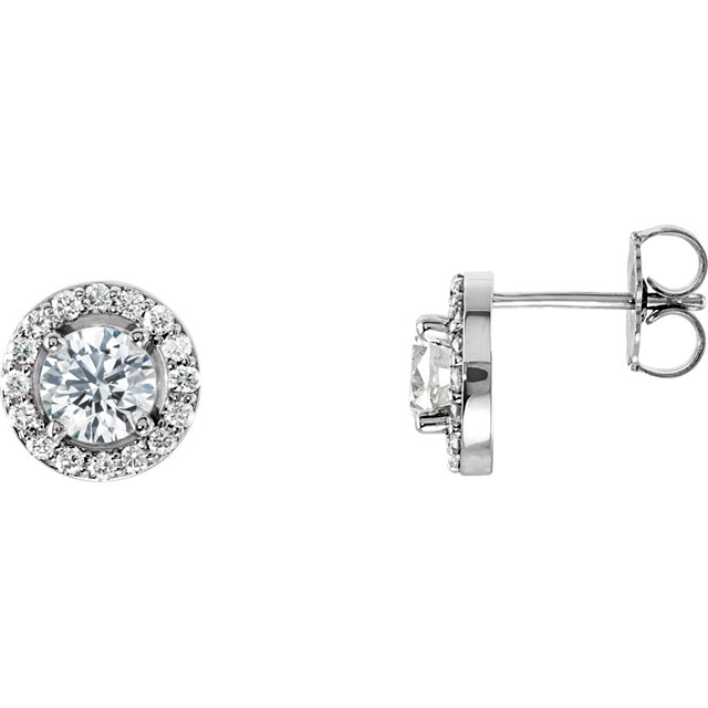 Contemporary 14 Karat White Gold 0.40 Carat Total Weight Diamond Halo-Style Earrings