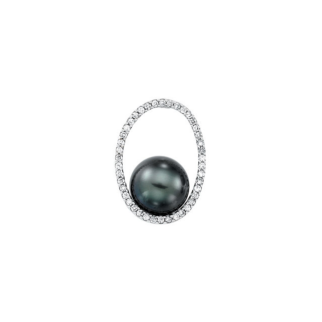 Easy Gift in 14 Karat White Gold Tahitian Cultured Pearl & 0.33 Carat Total Weight Diamond Pendant