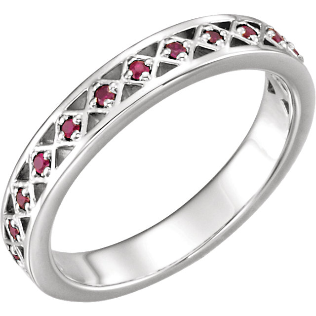 Chic 14 Karat White Gold Ruby Stackable Ring