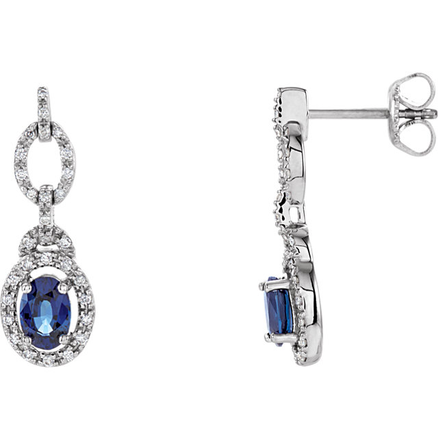 Contemporary 14 Karat White Gold Blue Sapphire & 0.25 Carat Total Weight Diamond Earrings