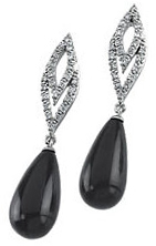 14KT White Gold 1/4 Carat Total Weight Diamond & Briolette Onyx Earrings