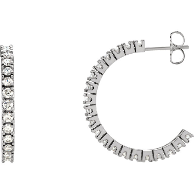 Easy Gift in 14 Karat White Gold 1 0.60 Carat Total Weight Diamond Hoop Earrings