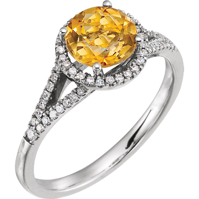 Great Buy in 14 Karat White Gold 0.20 Carat Total Weight Diamond & Citrine Ring