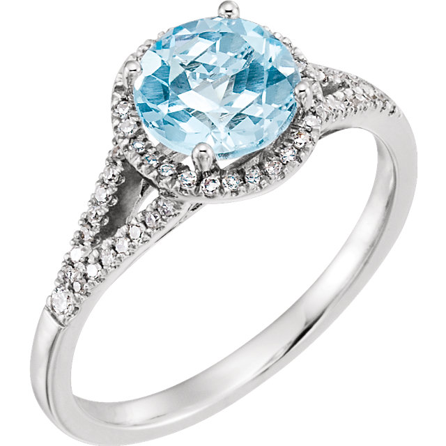Gorgeous 14 Karat White Gold 1/5 Carat Total Weight Diamond & Round Genuine Sky Blue Topaz Ring