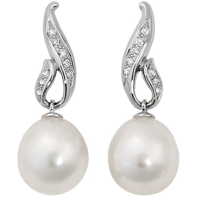 14KT White Gold 1/5 CTW Diamond & 12mm South Sea Cultured Pearl Earrings