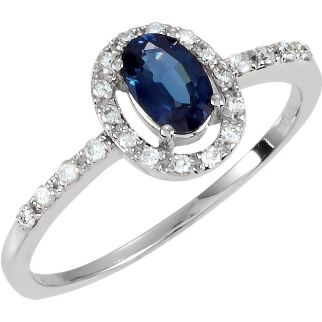 Must See 14 Karat White Gold Blue Sapphire & 0.17 Carat Total Weight Diamond Ring