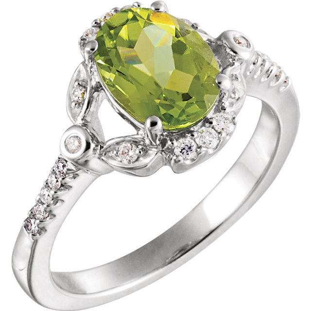 Chic 14 Karat White Gold 1/6 Carat Total Weight Diamond & Oval Genuine Peridot Ring