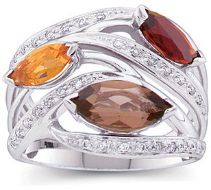 Great Buy in 14 Karat White Gold 0.17 Carat Total Weight Diamond, Smoky Quartz, Madeira Citrine & Citrine Ring