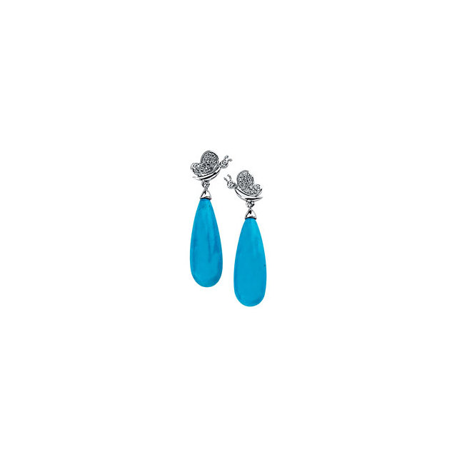 Eye Catchy 14 Karat White Gold Turquoise & 0.17 Carat Total Weight Diamond Earrings