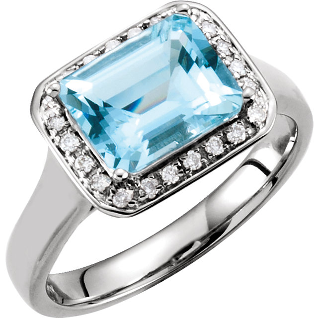 Wonderful 14 Karat White Gold Aquamarine & 0.12 Carat Total Weight Diamond Halo-Style Ring