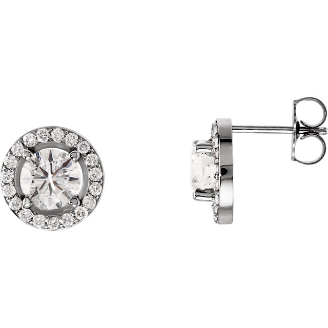 Appealing Jewelry in 14 Karat White Gold 1 0.90 Carat Total Weight Diamond Halo-Style Earrings