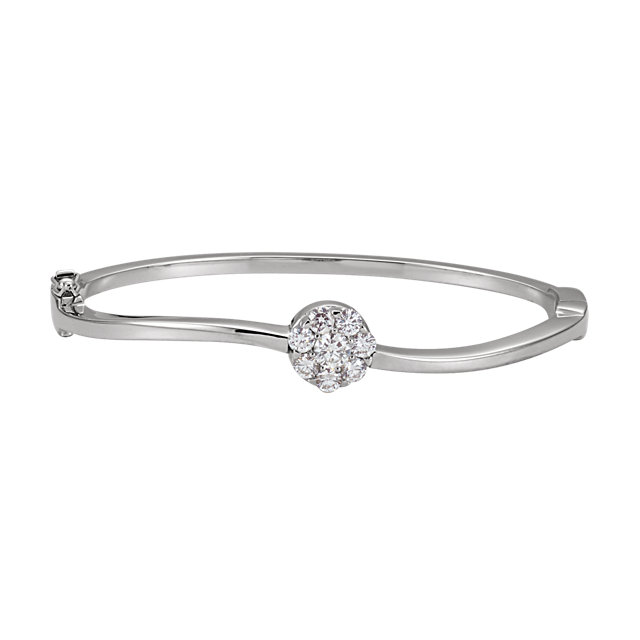 Classic 14 Karat White Gold 1 Carat Total Weight Round Genuine Diamond Circle Bangle Bracelet