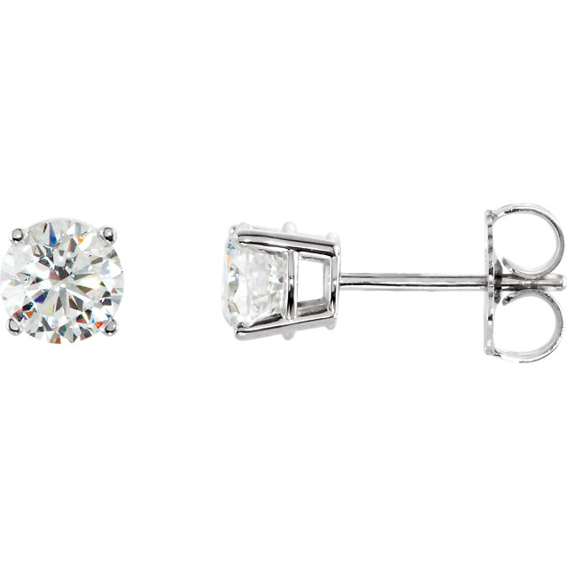 Perfect Gift Idea in 14 Karat White Gold 1 Carat Total Weight Diamond Earrings