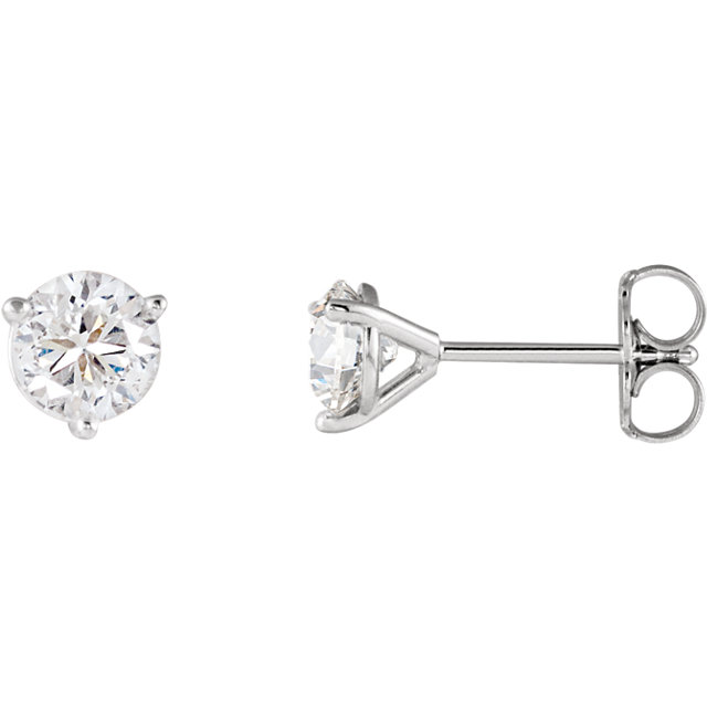 Contemporary 14 Karat White Gold 1 Carat Total Weight Diamond FriCaration Post Stud Earrings