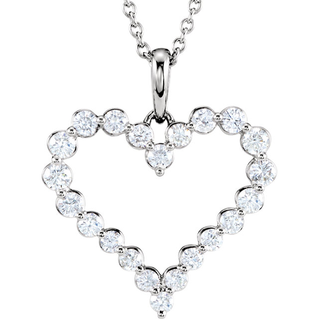 Attractive 14 Karat White Gold 1 Carat Total Weight Round Genuine Diamond Heart Necklace