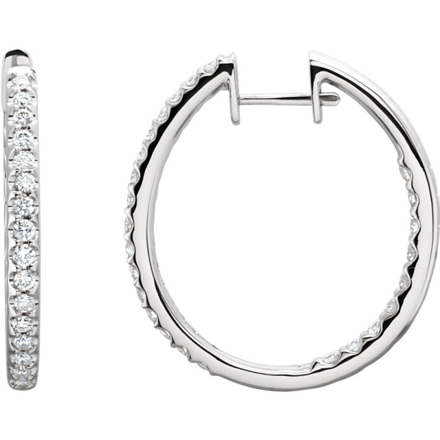 Eye Catchy 14 Karat White Gold 1 Carat Total Weight Diamond Hinged Inside-Outside Hoop Earrings