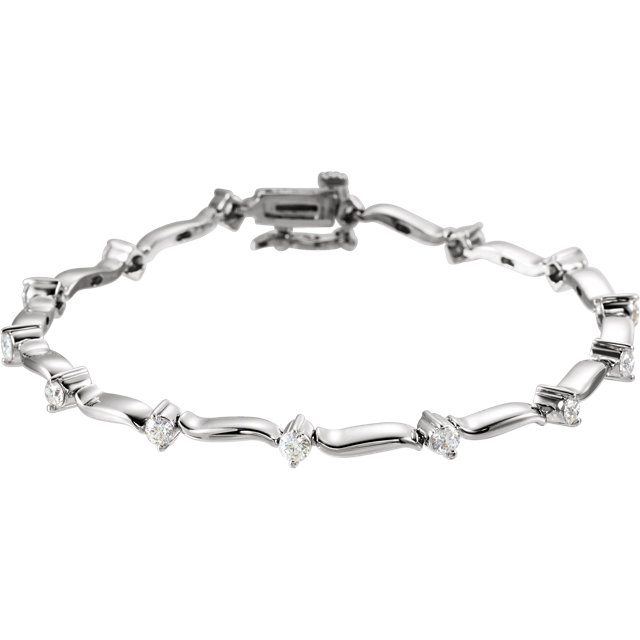 Appealing Jewelry in 14 Karat White Gold 1 Carat Total Weight Diamond Line Bracelet