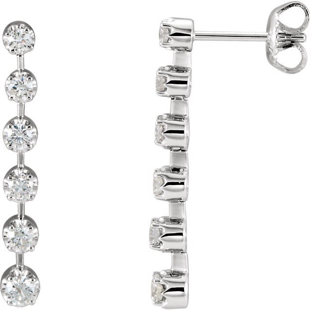 14KT White Gold 1 CTW Diamond Linear Earrings