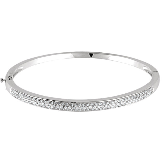Buy Real 14 KT White Gold 1 Carat TW Diamond Pave' Bracelet