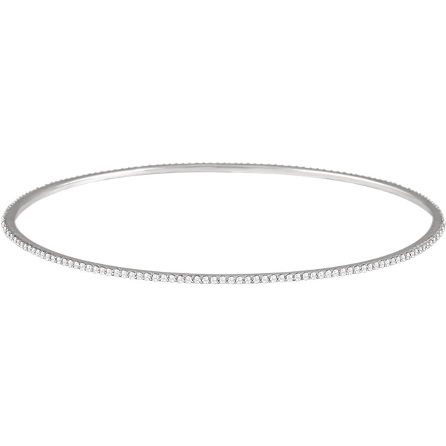 Lovely 14 Karat White Gold 1 Carat Total Weight Round Genuine Diamond Stackable Bangle Bracelet