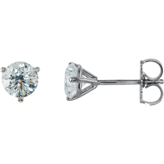 Perfect Jewelry Gift 14 Karat White Gold 1 Carat Total Weight Diamond Stud Earrings