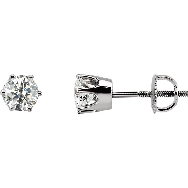 Eye Catchy 14 Karat White Gold 1 Carat Total Weight Diamond Threaded Post Stud Earrings