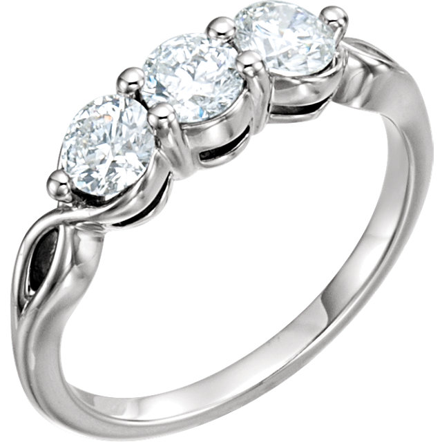 Must See 14 KT White Gold 1 Carat TW Diamond Three-Stone Ring
