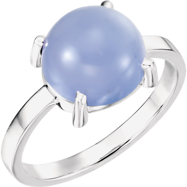Contemporary 14 Karat White Gold 10mm Round Blue Chalcedony Cabochon Ring