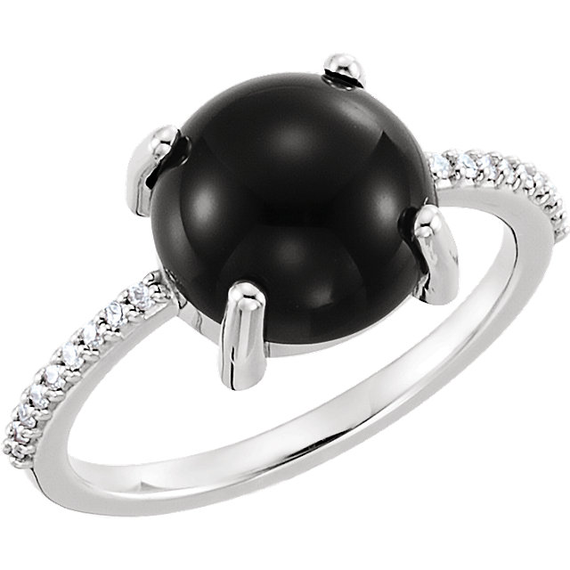 Wonderful 14 Karat White Gold 10mm Round Cabochon Onyx & 0.10 Carat Total Weight Diamond Ring